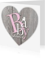 Uitnodigingen - Babyshower Roze Letters