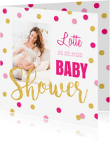 Uitnodigingen - Babyshower uitnodiging foto gouden confetti