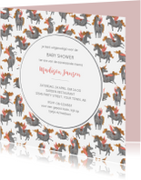 Uitnodigingen - Babyshower unicorn patroon uitnodiging