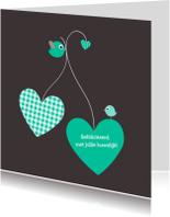 Felicitatiekaarten - Ballonharten huwelijk