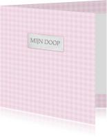 Doopkaarten - Bar creatief - mijn doop roze ruitjes