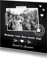 Trouwkaarten - Bedankkaart foto krijtbord hartjes