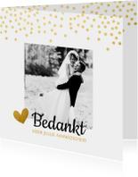 Trouwkaarten - Bedankkaart gouden stippen