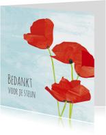 Rouwkaarten - Bedankkaart klaprozen