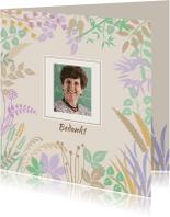 Rouwkaarten - Bedankkaart met blaadjes in pastel-tinten