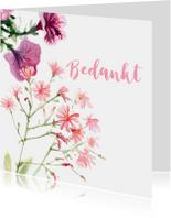 Bedankkaart met geschilderde bloemen
