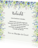 Trouwkaarten - Bedankkaart met lentebloemen