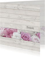 Rouwkaarten - Bedankkaart met rozen - hout