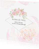 Trouwkaarten - Bedankkaart trouw rozen aquarel