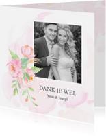 Trouwkaarten - Bedankkaart trouw rozen met foto