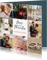 Trouwkaarten - Bedankkaartje huwelijk 8 foto's