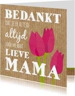 Bedankkaartjes - Bedankkaartje  tekst en tulpen