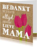 Bedankkaartje  tekst en tulpen