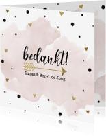 Trouwkaarten - Bedankt huwelijk aquarel goud