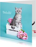 Bedankkaartjes - Bedankt - Kitten met bloemen