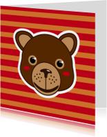 Dierenkaarten - Beertje rode strepen