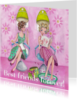 Vriendschap kaarten - Best Friends Forever Kapper Illustratie