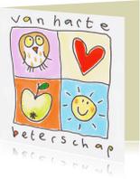 Beterschapskaarten - Beterschap uil, hart, zon, appel