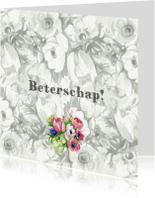 Beterschapskaarten - Beterschapkaart met B&W bloemen