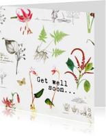 Beterschapskaarten - Beterschapkaart met botanische bloemenprint
