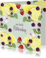 Beterschapskaarten - Beterschapskaart fruit met vlinders
