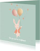 Beterschapskaarten - Beterschapskaart kind - lief konijntje met ballonnen