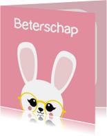 Beterschapskaarten - Beterschapskaart konijn met bril