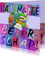 Beterschapskaarten - Beterschapskaart  letters en opkikkertje met bloemen