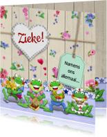 Beterschapskaarten - Beterschapskaart met opkikkertjes en bloemetjes