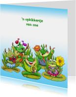 Beterschapskaarten - Beterschapskaart  opkikkertje met groep kikkers