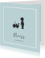 Geboortekaartjes - Blauw geboortekaartje silhouet