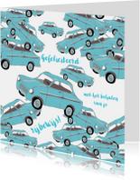 Geslaagd kaarten - Blauwe autootjes rijbewijs