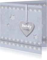 Geboortekaartjes - Blauwe barok, sterren en kant