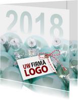 Zakelijke kerstkaarten - Blauwe kerstballen 2018 vk