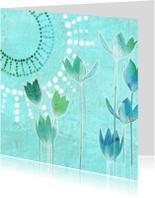 Bloemenkaarten - Blauwgroene bloemenkaart