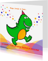Verjaardagskaarten - Blije dino verjaardag te laat
