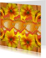 Dierenkaarten - Bloemen en goudvissen