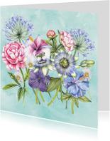 Bloemenkaarten - Bloemen kleurrijk