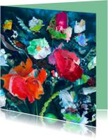 Kunstkaarten - bloemen paletstukken iets fraais