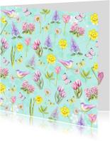 Bloemenkaarten - bloemen voorjaar aquarel