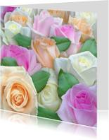 Bloemenkaarten - Bloemenkaart met diverse mooie rozen in pasteltinten