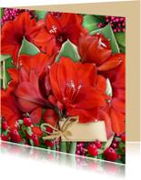 Bloemenkaarten - Bloemenkaart rode Amaryllis