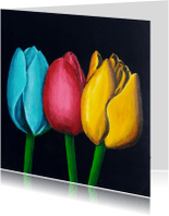 Bloemenkaarten - Bloemenkaarten Tulpfiction Christel blauwe tulp