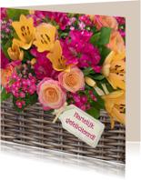 Verjaardagskaarten - Bloemenmand rozen en lelies