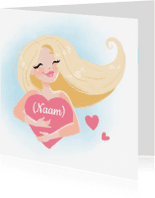 Liefde kaarten - Blond meisje met hart - KO
