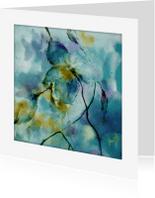 Bloemenkaarten - blue in aquarel