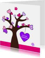 Felicitatiekaarten - Boom met roze hartjes