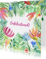 Botanische bloemen verjaardagskaart