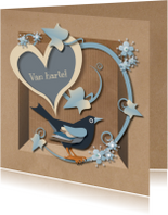 Verjaardagskaarten - Brown Paper Box Blackbird Man