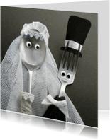 Menukaarten - Bruidspaar Bestek - bruiloft